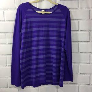Champion Purple Striped Long Sleeve Top XXL